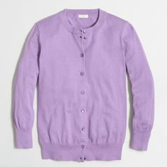 J.Crew Factory Clare cardigan sweater ($35) ❤ liked on Polyvore featuring tops, fitted tops, purple top, 3/4 sleeve tops, three quarter sleeve tops and 3/4 length sleeve tops