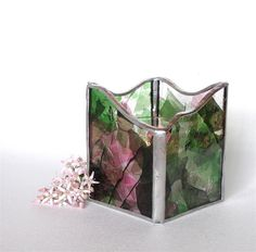 Stained Glass Candle Holder or Candle by GreenhouseGlassworks, $22.00