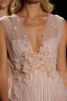 J. Mendel Spring 2013 - Details. Wow! I love this dress and how it has sheer draping and floral appliques. The only thing I would change is to make the neckline a full sweetheart because it's a bit too low cut for my taste.