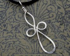 Celtic Cross Pendant, Sterling Silver Wire Four Leaf Clover, Loopy Bliss Cross…