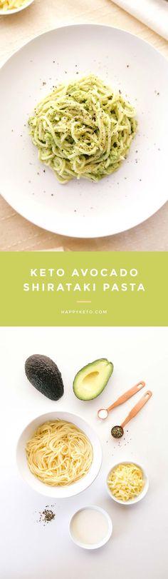 Avocado pasta for keto and low carb. Easy recipe with shirataki noodles.