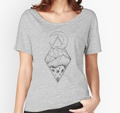 Geometric mountain in a diamonds with moon (tattoo style - black and white) by #Beatrizxe | #redbubble #tee #shirt Several mountains are enclosed in two overlapping diamonds or rhombs. A crescent moon escapes of the diamonds and it seems a optical illusion #Geometric  #illustration #mountain #diamond #rhomb #moon #optical #illusion #ink #tattoo #line #pointillism #design #sketch #doodle #minimal #minimalism #mountains #night #minimalist
