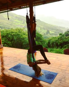 Aerial yoga in the mountains, Vilcabamba, Ecuador