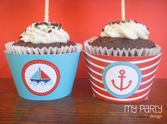 Nautical Party - PRINTABLE Cupcake wrappers - red and blue, by MyPartyDesign - Instant Download