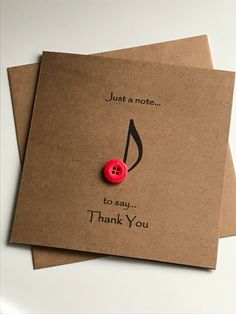Best 10 This button art designed Thank You card is a perfect rustic greetings card for expressing your thanks. Just a note to say thank you, a birthday thank you or a Teacher thank you. A stylish music card with a printed music note. This card suit almost Cute Cards, Diy Cards, Birthday Thank You, Card Birthday, Birthday Gifts, Diy Birthday, Birthday Music, Birthday Wishes, Happy Birthday