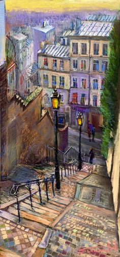 Yuriy Shevchuk; Pastel, 2009, Drawing Paris Montmartre  I have a black and white photo of this staircase in my living room, but its taken from the left side.