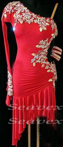 Competition Ballroom Latin Rhythm Rumba Dance Dress US 8 UK 10 Red Sliver Color