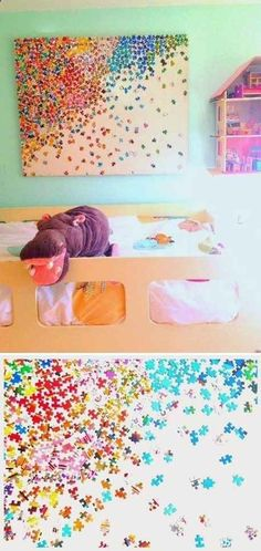 Repurpose puzzles as colorful wall art.