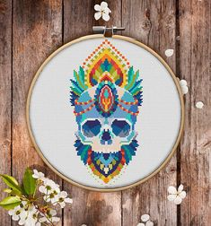 Mandala Skull Cross Stitch Pattern for Instant Download  186