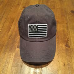 DAD HAT Black and White American Flag/Charcoal Grey Garment Washed Low Profile Hat