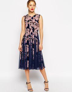 c45ccb7c89 ASOS Floral Mesh Insert Fit And Flare Midi at asos.com. Ball DressesFormal  ...