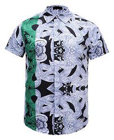 88dd2007 Pizoff Men's Casual Short Sleeve Arc Bottom Luxury Floral Print Button Down  Party Office T-Shirt Dress Shirt