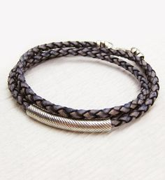 Unisex Leather Wrap Bracelet with Sterling Silver