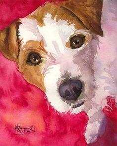 Jack Russell Terrier Art Print of Original Watercolor Painting - 11x14. $24.50, via Etsy.