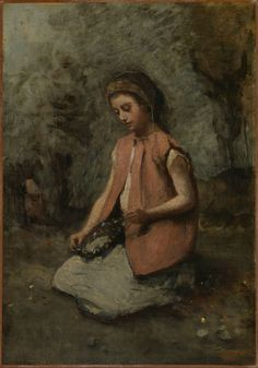 Camille Corot | Girl Weaving a Garland | The Met