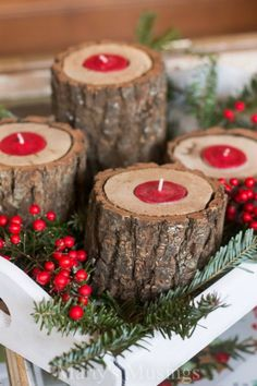 Make these Rustic Wood Candle Holders! Gorgeous on your coffee table, buffet or give them as a gift! Visit our 100 Days of Homemade Holiday Inspiration for more recipes, decorating ideas, crafts, homemade gift ideas and much more!