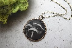 """Modern Made Ambrotype Photo Pendant, """"Spring"""", Wet Plate Collodion Image on Clear Glass in Brass Setting with Soldered Brass Chain by SilverAndGlassPhotog on Etsy"""