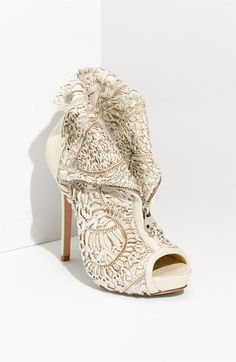"FOR THE BRIDE...I love the art of laser cutting so I couldn't resist pinning this boot (expensive at $1,725.00 but one can ""imagine...""   :-)    Alexander McQueen Laser Cut Bootie:  ""A light-colored leather bootie is topped with an incredibly intricate laser-cut overlay."""