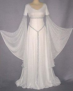 White gown with transparent sleeves but with a simple strand belt