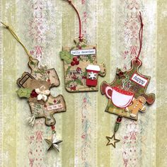 For the past few weeks, I've been having a great time altering puzzle pieces, making hanging ornaments out of them. So I decided to make one for my Mixed Media Morsels, Main Dish video. Puzzle Piece Crafts, Puzzle Art, Puzzle Pieces, Christmas Tag, Christmas Projects, Holiday Crafts, Puzzle Jewelry, Arts And Crafts, Christmas Labels