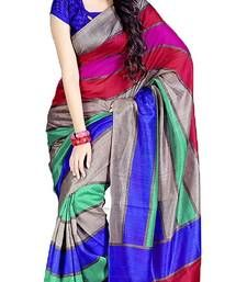 Buy multicolor printed bhagalpuri silk saree with blouse banarasi-silk-saree online