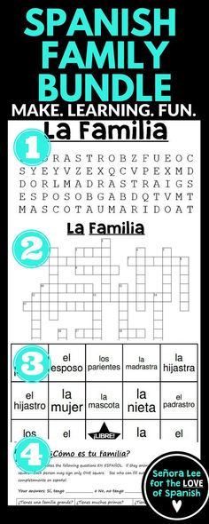 Spanish Family Vocabulary | FOUR fun activities in one bundle to learn Spanish family members. Instant, no prep activities! #familila #spanishfamily #spanishfamilyactivities