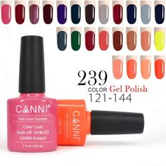 CANNI Gel Varnishes 1 Piece 7.3ml 240 Solid Glitter Pearl Color 121-144 Manicure Nail Art 30917 Soak off UV LED Nail Gel Polish