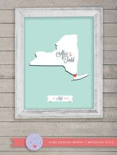 wedding guest book alternative - custom state or country map print