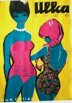 Original-vintage-poster-ULKA-AUSTRIA-SWIMSUIT-1960-Hofmann