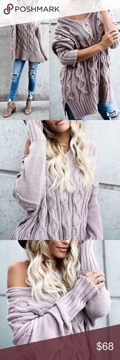 Mauve Chunky Cable Knit Sweater Mauve Chunky Cable Knit Sweater 100% Cotton Price is Firm No Trades Glamvault Sweaters