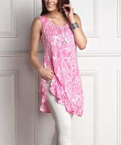 Love this Pink Floral Sleeveless Ruffle-Hem Sidetail Tunic - Plus on #zulily! #zulilyfinds