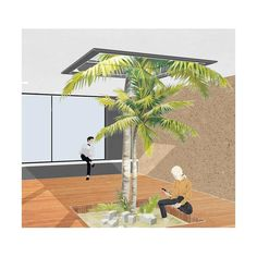 render, photoshop, architecture, vacation, palmier, photoshop, collage, texture, summer Texture, Palm Springs, Palm Trees, Exotic, Sketch, Collage, Photoshop, Vacation, Architecture