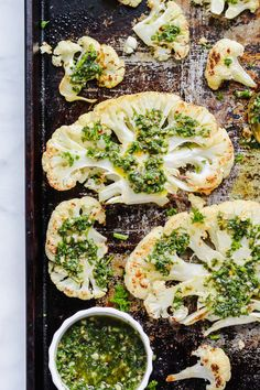 Roasted Cauliflower Steaks with Chimichurri Sauce on sheet pan