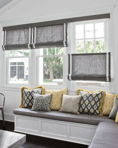 Bench window seat and window treatment for our living room windows. Window Seat Kitchen, Kitchen Window Treatments, Picture Window Treatments, Curtains For Kitchen, Kitchen Blinds, Smith And Noble, Curtains With Blinds, Roman Blinds, Grey Blinds