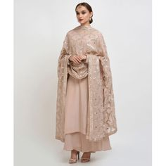 Nude Pink Hand Embroidered Gota Patti Work Suit with Dupatta