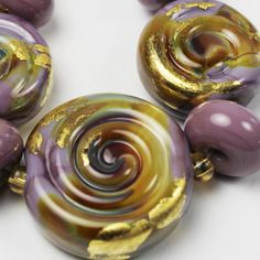 SRA Glass Lampwork Bead Set Spiral Purple by StoneDesignsbySheila