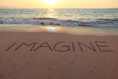 Photographic Print: Imagine Written in the Sand on a Sunset Beach. by Hannamariah : 24x16in