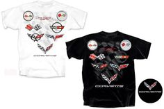C1 - C7 Logos - Legend Lives On Corvette T-shirt$18.00  C1 - C7 Logos - Legend Lives On Corvette T-shirt Click to enlarge This shirt says it all - The Legend Lives On.   The back of this shirt shows all 7 logos and is shaped in a V for victory with a checkered flag in the background. C7 logo left front chest.  Available in Black and White.  Size S - 3X. #corvette