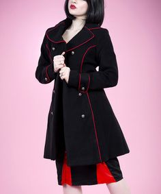 This Black & Red Corset Peacoat - Women is perfect! #zulilyfinds