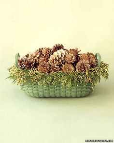 Bleached Pinecones Basket How To #DIY #Crafts