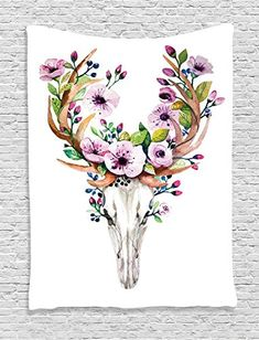 Ambesonne Skulls Decorations Collection, Deer Animal Skull with Floral Horns Nature Inspired Dead and Living Art Print, Bedroom Living Room Dorm Wall Hanging Tapestry, Cream Pink Brown -- Check this awesome product by going to the link at the image.