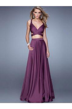 Two Piece A-Line/Princess Sleeveless Straps Chiffon Floor-Length Dresses - Prom Dresses