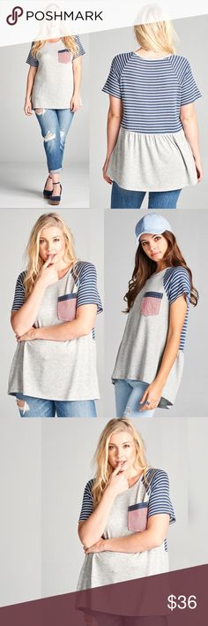🆕 🇺🇸PLUS SIZED FRENCH TERRY PATRIOTIC TEE🇺🇸 Show your patriotism in style! Heather gray French terry top with a striped pocket and striped contrasting back. Loose fit. True to size. 65% rayon. 32% polyester. 3% spandex. Made in the 🇺🇸🇺🇸🇺🇸. AVAILABLE IN S, M, L IN ANOTHER LISTING. SHIPS THURSDAY. Tops Tunics