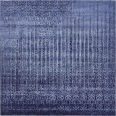 Vintage Del Mar Rain Blue 8 ft. x 8 ft. Square Rug