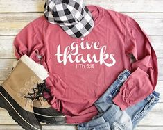 Etsy :: Your place to buy and sell all things handmade Thanksgiving Shirts For Women, Valentines Day Shirts, Crew Neck Shirt, Fall Shirts, Christian Shirts, Workout Shirts, Long Sleeve Shirts, Sleeves, How To Wear
