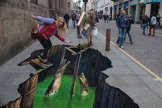 #StreetArt       Crocodile Pavement Art