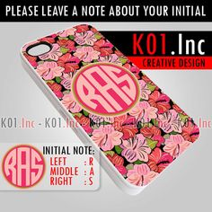 Persolanized Monogram Pink Flower  iPhone 4/4s/5 Case  by K01Inc, $15.50