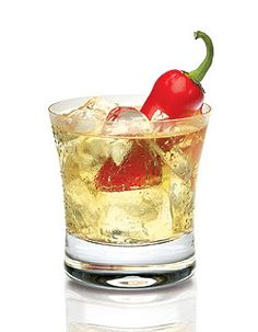 2 oz. Tarantula Reposado Tequila 1 oz. Dry vermouth 1 small whole jalapeño chile for garnish (look for red rather than green jalapeños)