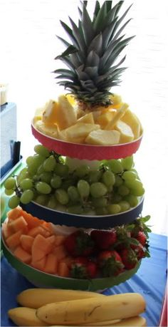 Serve fruit in a cupcake stand, makes a nice fruit tower