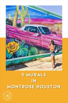 Houston Murals in Montrose. Most instagrammable spots in Houston, Texas. Visit Houston, Houston Tx, Montrose Houston, Houston Murals, Houston Skyline, Park Trails, Texas Travel, Swimming Holes, Galveston
